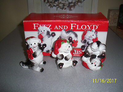 "Fitz & Floyd Christmas ""Kitty Claus"" Tumblers Figurines 2019/1019"