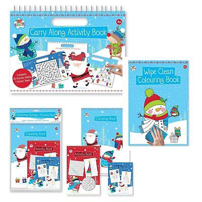 Christmas Kids Colouring Books Activity Packs Xmas Childrens Carry Along
