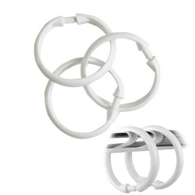 12Pcs Curtain Rod Rings Plastic Snap On Shower Curtain Hooks White Easy to Use
