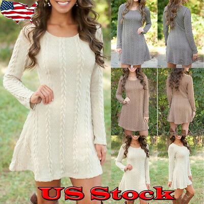 US Womens Long Sleeve Casual Knitted Sweater Cable Party Jumper Tunic Mini Dress