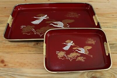 Vintage Collector Japanese Serving Trays Japan Red Gold