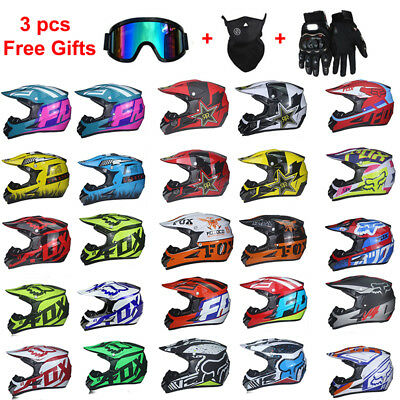 FOX Mens Motocross Helmet Extreme Sports Off Road ATV Dirt Bike With 3Pcs Gift