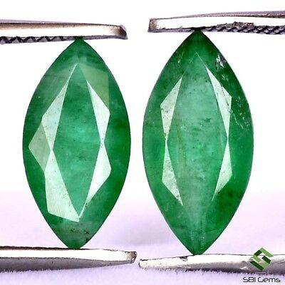 2.13 Cts Certified Natural Emerald Marquise Cut Pair 10x5 mm Untreated Gemstone