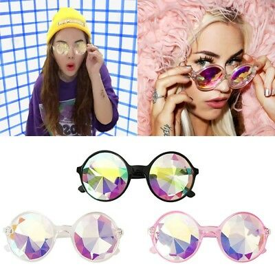 Festival Rave Round Kaleidoscope Rainbow Glasses Prism Diffraction Crystal Lens