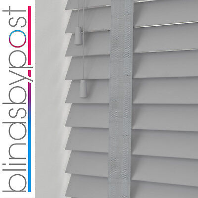 Grey with TAPES - WOODEN VENETIAN WOOD BLIND - 50mm SLAT & CHILD SAFE