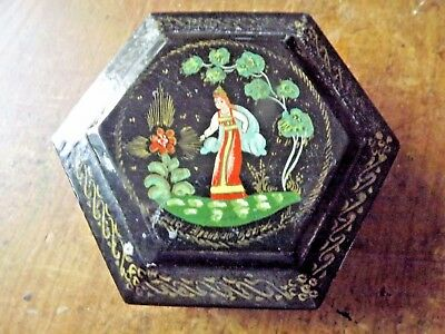 Vintage Burmese Lacquer Betel Nut Box with a Girl Dancing
