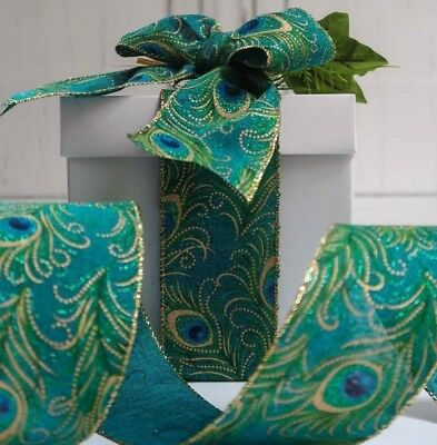 63MM New Turquoise Blue Peacock Feather burlap Ribbon Christmas Wreath Bow Wrap