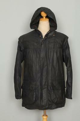 BARBOUR Durham Hooded WAXED Jacket Navy Size 36 Small