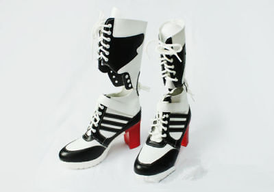 New Suicide Squad Harley Quinn Highheels Boots Costume Fancy Dress Shoes Cosplay