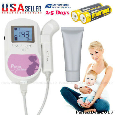 CONTEC Brand Pocket Fetal Doppler 3 Mhz LCD Prenatal Heart Rate Baby Monitor+Gel