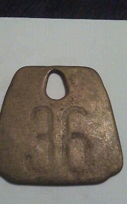 Vintage  Tag Cow Tag #36 Brass Metal Antique Cattle Tag ear collar