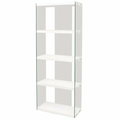 4-Tier Bookcase Glass High Gloss White Bookshelf Contemporary Display Cabinet