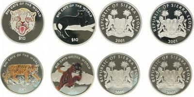 Sierra Leone 4 x 10 Dollars 2001 - Cats of the World - Silber - PP in Kapseln