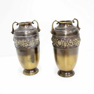 Pair of Mytton Solid Brass Urns/Vases Made in Australia #940