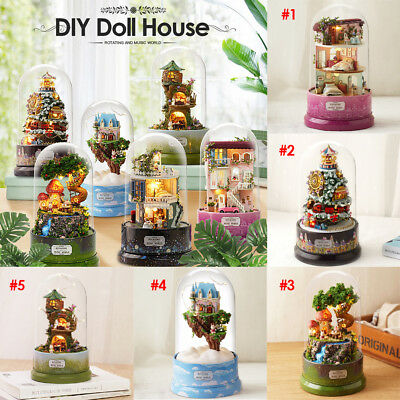 DIY Glass Ball Doll House Rotating Music Miniature Building Musical Xmas Gift