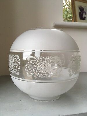 Antique Victorian Frosted & Acid Etched Round Glass Oil Lamp Shade Ball Globular