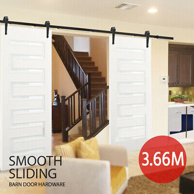 3.66M Sliding Barn Door Hardware Track Kit Double Door Track Set Interior Closet