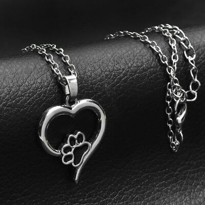 Paw Print Cat Dog Pet Love Heart Pendant 925 Sterling Silver Chain Necklace Gift