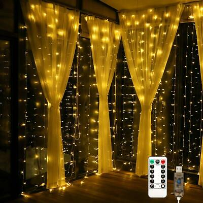 Window Curtain Icicle Lights String Fairy 300 LED Wedding Party With Remote 3X3m