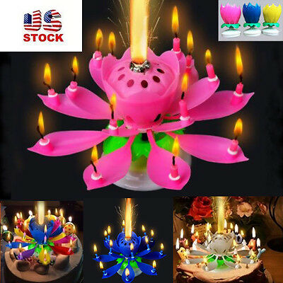 New Musical Lotus Flower Rotating Happy Birthday Candle W 14 Small Candles