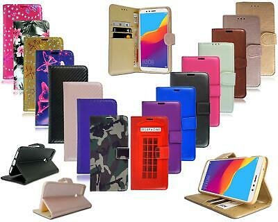 For Huawei Y6 2018 New Black Leather Wallet Phone Case Cover + Screen Protector