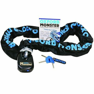 Oxford Monster Premium Motorcycle Chain & Padlock Security 2M x 14mm