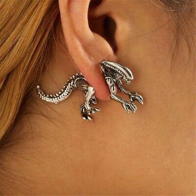 Women's Fashion 3D Alien Dinosaur Design Earrings Bone Charm Piercing Ear Stud