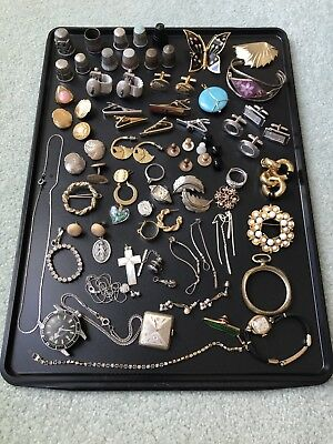 Large Estate Junk Drawer Jewelry Lot Thimbles - Wear / Resell / Arts & Crafts