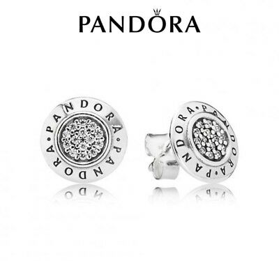 Genuine Pandora Signature Logo Stud Earrings 296252CZ