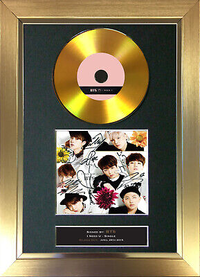 GOLD DISC BTS I Need U Signed Autograph Mounted Print A4 175