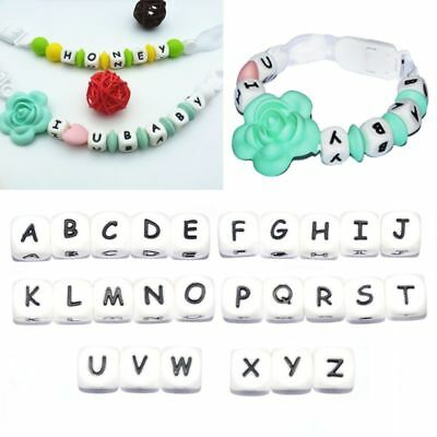 5Pc 12mm Diy Letter Safe Silicone Teething Beads For Baby Teether Pacifier Chain
