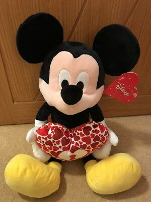 Posh Paws Disney Mickey Mouse Valentines Love 💕 Heart Large Soft Plush Toy