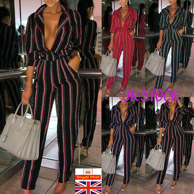 Women Boho Stripe Holiday V Neck Boho Jumpsuit Playsuit Casual OL Outfit Clothes
