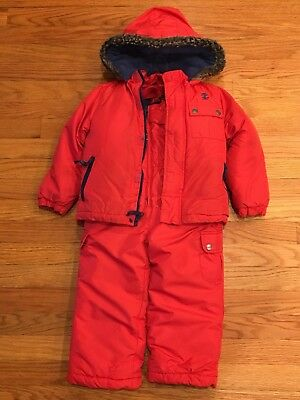 Boys 3T IZOD Red Winter Coat/ Jacket And Snow Bib/ Suit Great Used Condition Lot