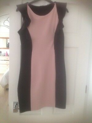 Ladies Dress Size 12 with pink mid Panel and Black slimming side panels