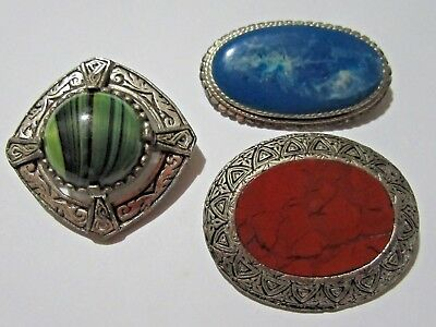 Vintage Lot of 3 Glass Agate Scottish Style Celtic Brooches 1 Signed Exquisite