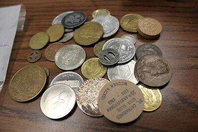 28 Assorted Pieces- Tokens, Medallions, Dollars, Wooden Nickels Circulated