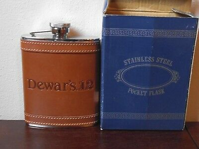 """Dewar's Stainless Steel Leather 6 oz. Pocket Flask 5.5"""" tall"""