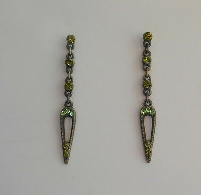 Vintage Dangle Earrings With Peridot Australia Crystal E1259