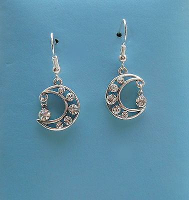 Moon Dangle Earring  Clear Crystal Rhinestone Fashion Jewelry E1290