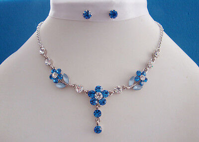 Necklace & Earrings Lt Sapphire Flower Australia Crystals N30