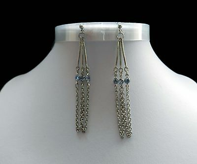 Vintage  Dangle Earrings With Sapphire Australia Crystals E1230
