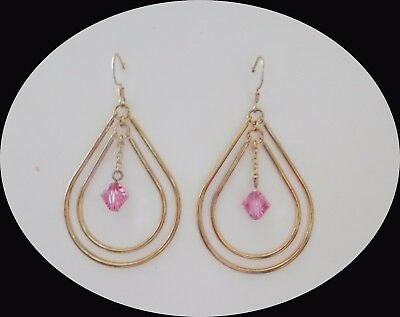 Handmade Dangle Earrings with Lt Rose Swarovski Bi-Cone Crystal Gold Tone E1351