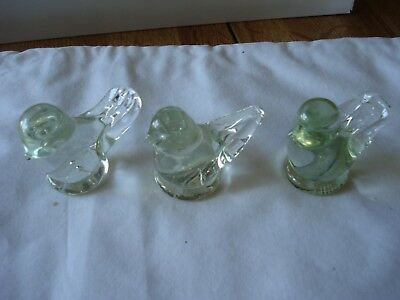 3 Clear Glass Birds By, ( Ron Ray ),  2- 1993, 1- 1994, Signed,  Pre Owned