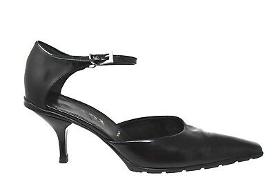 "Prada Black Leather Square Toe Ankle Strap 3.25"" Heels Womens Size 39/9M"