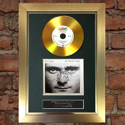 GOLD DISC PHIL COLLINS In The Air Tonight Signed Autograph Mounted Print A4 138