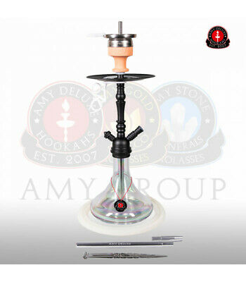 Amy Deluxe Shisha Middle Globe Rainbow - clear - RS black powder | Wasserpfeife