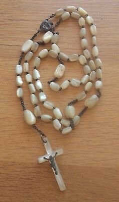 Ancient Spanish Rosary Mother Of Pearl And Solid Silver Rosario Plata Y Nacar