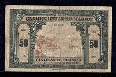 Morocco | 50 Francs | 1943 | French Colonial Note | P-26 | Vf