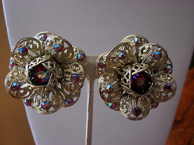 Sarah Coventry vintage large red aurora borealis goldtone clip on earrings, WOW